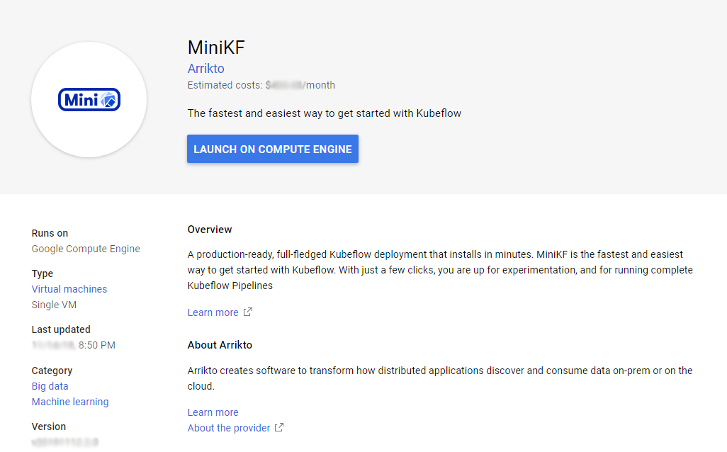 Launch MiniKF on GCP